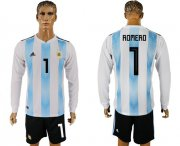 Wholesale Cheap Argentina #1 Romero Home Long Sleeves Soccer Country Jersey