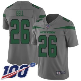 Wholesale Cheap Nike Jets #26 Le\'Veon Bell Gray Men\'s Stitched NFL Limited Inverted Legend 100th Season Jersey