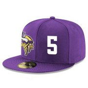 Wholesale Cheap Minnesota Vikings #5 Teddy Bridgewater Snapback Cap NFL Player Purple with White Number Stitched Hat