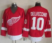 Wholesale Cheap Red Wings #10 Alex Delvecchio Red CCM Throwback Stitched NHL Jersey