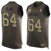 Wholesale Cheap Nike Vikings #64 Josh Kline Green Men's Stitched NFL Limited Salute To Service Tank Top Jersey