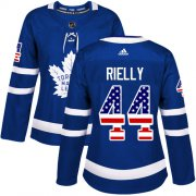 Wholesale Cheap Adidas Maple Leafs #44 Morgan Rielly Blue Home Authentic USA Flag Women's Stitched NHL Jersey