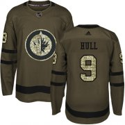 Wholesale Cheap Adidas Jets #9 Bobby Hull Green Salute to Service Stitched NHL Jersey