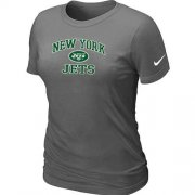 Wholesale Cheap Women's Nike New York Jets Heart & Soul NFL T-Shirt Dark Grey