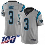 Wholesale Cheap Nike Panthers #3 Will Grier Silver Youth Stitched NFL Limited Inverted Legend 100th Season Jersey