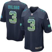 Wholesale Cheap Nike Seahawks #3 Russell Wilson Steel Blue Team Color Men's Stitched NFL Limited Strobe Jersey