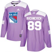 Wholesale Cheap Adidas Rangers #89 Pavel Buchnevich Purple Authentic Fights Cancer Stitched Youth NHL Jersey