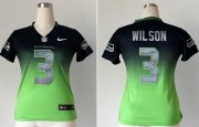 Wholesale Cheap Nike Seahawks #3 Russell Wilson Steel Blue/Green Women's Stitched NFL Elite Fadeaway Fashion Jersey