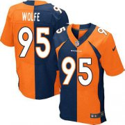 Wholesale Cheap Nike Broncos #95 Derek Wolfe Orange/Navy Blue Men's Stitched NFL Elite Split Jersey