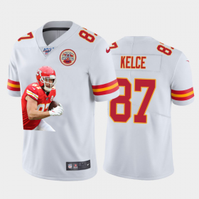 Cheap Kansas City Chiefs #87 Travis Kelce Nike Team Hero 1 Vapor Limited NFL 100 Jersey White Golden