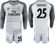 Wholesale Cheap Real Madrid #25 Courtois Grey Goalkeeper Long Sleeves Soccer Club Jersey