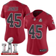 Wholesale Cheap Nike Falcons #45 Deion Jones Red Super Bowl LI 51 Women's Stitched NFL Limited Rush Jersey