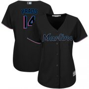 Wholesale Cheap Marlins #14 Martin Prado Black Alternate Women's Stitched MLB Jersey