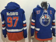 Wholesale Cheap Oilers #97 Connor McDavid Light Blue Name & Number Pullover NHL Hoodie