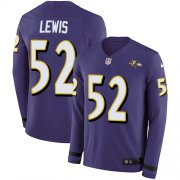 Wholesale Cheap Nike Ravens #52 Ray Lewis Purple Team Color Men's Stitched NFL Limited Therma Long Sleeve Jersey
