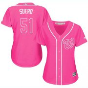 Wholesale Cheap Nationals #51 Wander Suero Pink Fashion Women's Stitched MLB Jersey