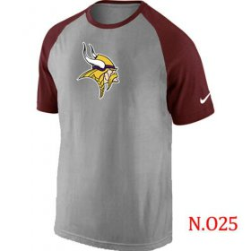 Wholesale Cheap Nike Minnesota Vikings Ash Tri Big Play Raglan NFL T-Shirt Grey/Red