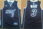 Cheap Miami Heat #3 Dwyane Wade All Black With Heat Kids Jersey