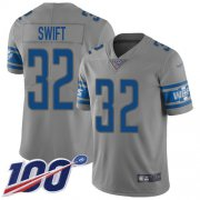 Wholesale Cheap Nike Lions #32 D'Andre Swift Gray Youth Stitched NFL Limited Inverted Legend 100th Season Jersey