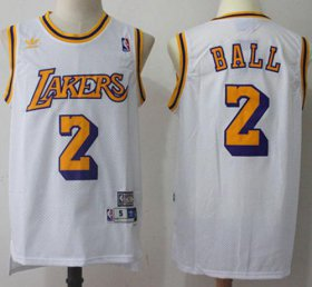 Wholesale Cheap Los Angeles Lakers #2 Lonzo Ball White Throwback Stitched NBA Jersey
