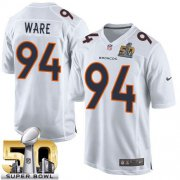 Wholesale Cheap Nike Broncos #94 DeMarcus Ware White Super Bowl 50 Men's Stitched NFL Game Event Jersey