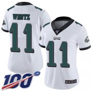 Wholesale Cheap Nike Eagles #11 Carson Wentz White Women's Stitched NFL 100th Season Vapor Limited Jersey