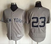 Wholesale Cheap Yankees #23 Don Mattingly Grey Flexbase Authentic Collection Stitched MLB Jersey