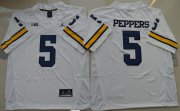 Wholesale Cheap Men's Michigan Wolverines #5 Jabrill Peppers White Stitched NCAA Brand Jordan College Football Jersey