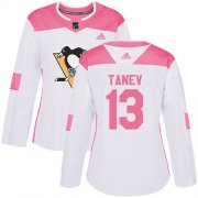 Wholesale Cheap Adidas Penguins #13 Brandon Tanev White/Pink Authentic Fashion Women's Stitched NHL Jersey