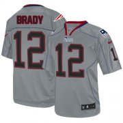 Wholesale Cheap Nike Patriots #12 Tom Brady Lights Out Grey Youth Stitched NFL Elite Jersey