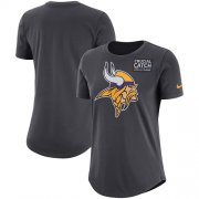Wholesale Cheap NFL Women's Minnesota Vikings Nike Anthracite Crucial Catch Tri-Blend Performance T-Shirt
