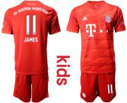 Wholesale Cheap Bayern Munchen #11 James Home Kid Soccer Club Jersey