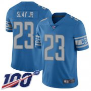 Wholesale Cheap Nike Lions #23 Darius Slay Jr Blue Team Color Youth Stitched NFL 100th Season Vapor Limited Jersey