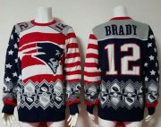 Wholesale Cheap Nike Patriots #12 Tom Brady Red/Navy Blue Men's Ugly Sweater