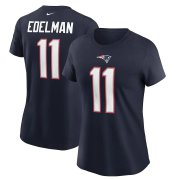 Wholesale Cheap New England Patriots #11 Julian Edelman Nike Women's Team Player Name & Number T-Shirt Navy