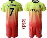 Wholesale Cheap Manchester City #7 Sterling Away Kid Soccer Club Jersey