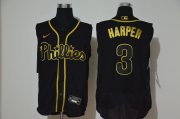 Wholesale Cheap Men's Philadelphia Phillies #3 Bryce Harper Black Golden 2020 Cool and Refreshing Sleeveless Fan Stitched Flex Nike Jersey