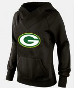 Wholesale Cheap Women's Green Bay Packers Logo Pullover Hoodie Black