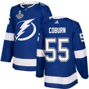 Cheap Adidas Lightning #55 Braydon Coburn Blue Home Authentic Youth 2020 Stanley Cup Champions Stitched NHL Jersey
