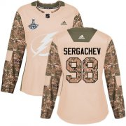 Cheap Adidas Lightning #98 Mikhail Sergachev Camo Authentic 2017 Veterans Day Women's 2020 Stanley Cup Champions Stitched NHL Jersey