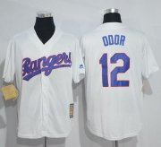 Wholesale Cheap Mitchell And Ness Rangers #12 Rougned Odor White Throwback Stitched MLB Jersey