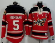 Wholesale Flames #5 Mark Giordano Red/Black Sawyer Hooded Sweatshirt Stitched NHL Jersey