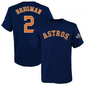 Wholesale Cheap Houston Astros #2 Alex Bregman Majestic Youth 2019 World Series Bound Name & Number T-Shirt Navy