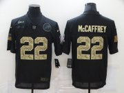 Wholesale Cheap Men's Carolina Panthers #22 Christian McCaffrey Black Camo 2020 Salute To Service Stitched NFL Nike Limited Jersey