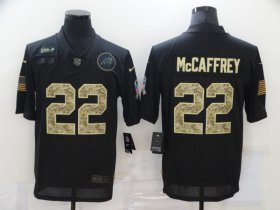 Wholesale Cheap Men\'s Carolina Panthers #22 Christian McCaffrey Black Camo 2020 Salute To Service Stitched NFL Nike Limited Jersey