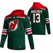 Wholesale Cheap New Jersey Devils #13 Nico Hischier Adidas Reverse Retro Pullover Hoodie Green
