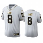 Wholesale Cheap New York Giants #8 Daniel Jones Men's Nike White Golden Edition Vapor Limited NFL 100 Jersey