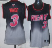 Wholesale Cheap Miami Heat #3 Dwyane Wade Black/Gray Fadeaway Fashion Womens Jersey