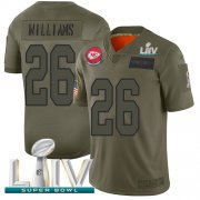 Wholesale Cheap Nike Chiefs #26 Damien Williams Camo Super Bowl LIV 2020 Men's Stitched NFL Limited 2019 Salute To Service Jersey