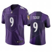 Wholesale Cheap Baltimore Ravens #9 Justin Tucker Purple Vapor Limited City Edition NFL Jersey